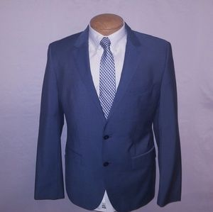 Hugo Boss Blue/Gray Pinstripe Suit 40 Regular